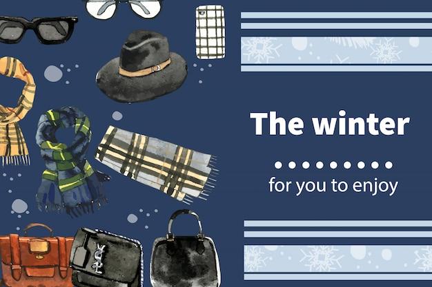 Design de moldura de estilo inverno com saco, cachecol, ilustração em aquarela de óculos.