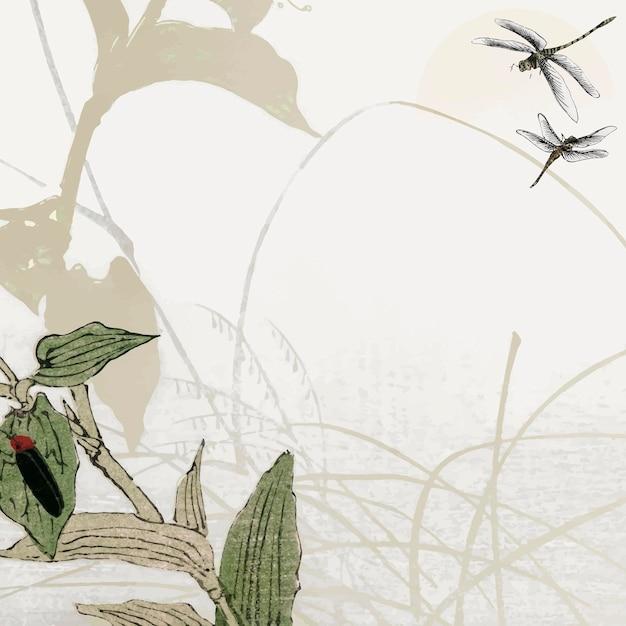 Design de moldura de libélula folhosa