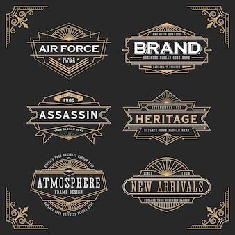 Design de moldura de linha vintage para rótulos, banner, logotipo, emblema, vestuário, camisetas, adesivos