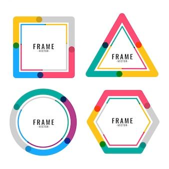 Design de moldura de linhas de cores geométricas