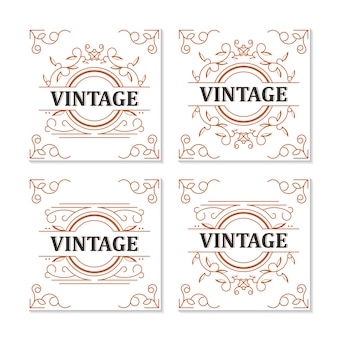 Design de moldura de rótulo vintage ornamental