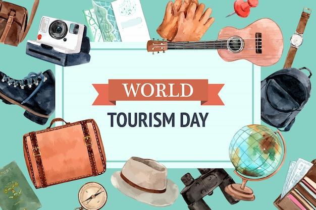 Design de moldura de turismo com equipamento de viagem, globo, câmara