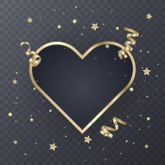Design de moldura dourada festivo em transparente.