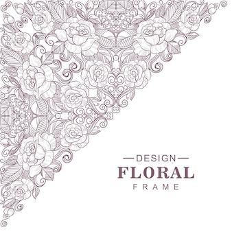 Design de moldura étnica com padrão floral decorativo