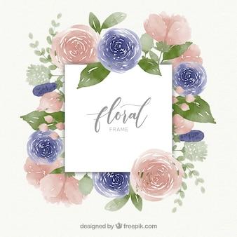 Design de moldura floral aquarela