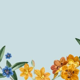 Design de moldura floral azul