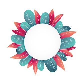 Design de moldura floral circular com espaço de texto em branco e borda de folhas coloridas