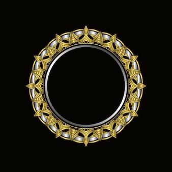 Design de moldura mandala de luxo. vetor de design floral vintage ouro mandala. Vetor Premium