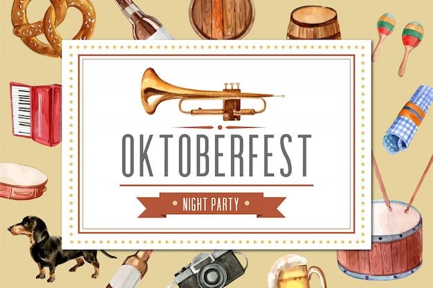 Design de moldura oktoberfest com entretenimento, balde de cerveja, banner.