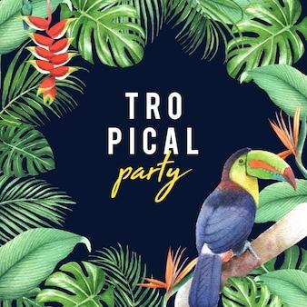 Design de moldura tropical com folhagem e pássaro, ilustração vetorial.