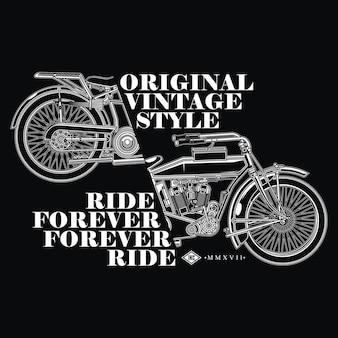 Design de moto vintage para motociclista vintage