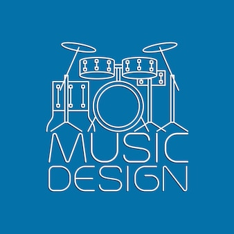 Design de música com logotipo de kit de bateria