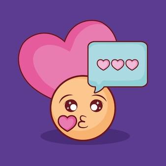 Design de namoro on-line com beijo emoji e coração