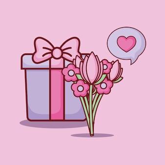 Design de namoro on-line com caixa de presente e buquê de flores