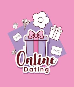 Design de namoro on-line com caixa de presente e ícones relacionados ao redor