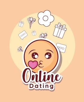 Design de namoro on-line com ícones emoji e relacionados