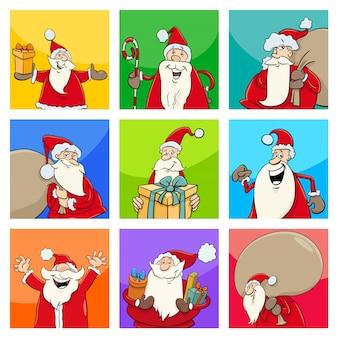 Design de natal com personagens de papai noel