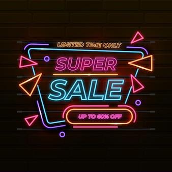 Design de néon com placa de venda