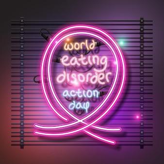 Design de néon do dia de ação do transtorno alimentar mundial