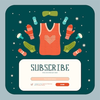 Design de newsletter com roupas de malha feitas à mão