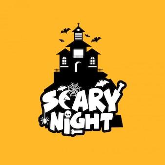 Design de noite assustador com vetor de tipografia