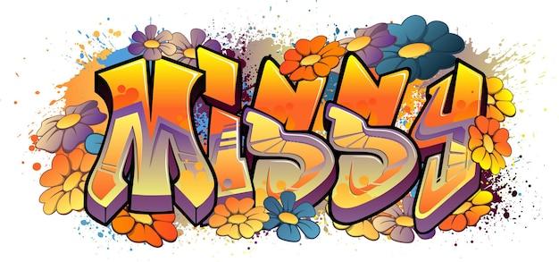 Design de nome em estilo de graffiti - arte de graffiti legível de missy cool