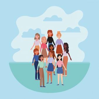 Design de nuvens e avatares de mulheres, tema de mídia social e humana de menina menina mulher pessoas