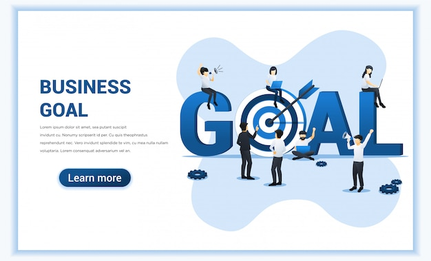 Design de objetivos de negócios. as pessoas trabalham perto do grande símbolo meta. alvo com uma flecha, alcançar o alvo, realização do objetivo. ilustração plana