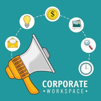 Design de oficina corporativa com ícones de megafone e relacionados sobre ilustração em vetor fundo teal