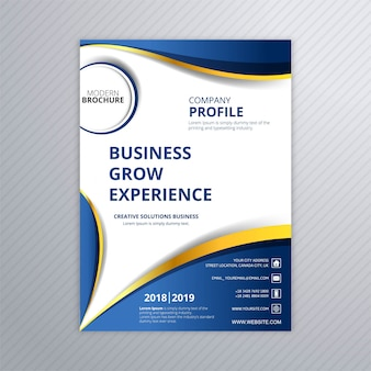 Design de onda de modelo criativo de brochura empresarial moderno