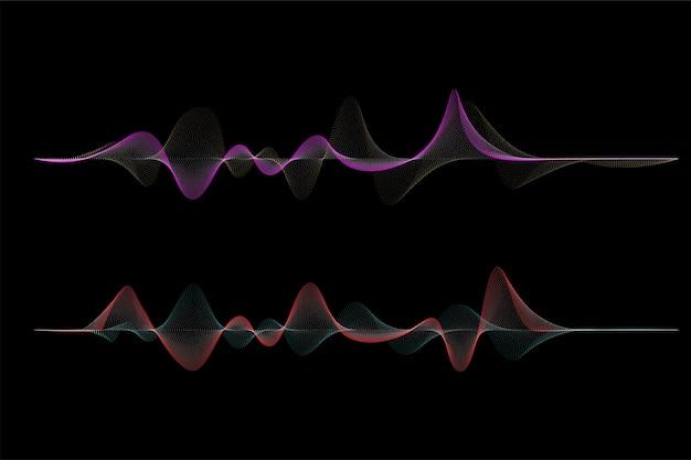 Design de onda de som do vetor dot. elemento de design colorido, para origens musicais.
