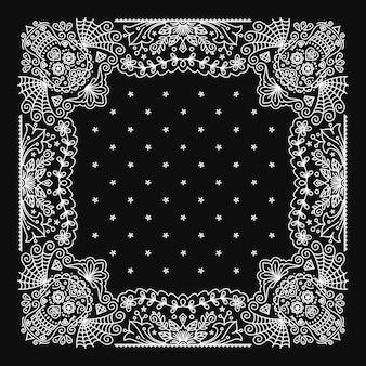 Design de ornamento bandana paisley com padrão de caveira mexicana