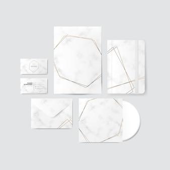 Design de ouro e mármore para vetor de produtos