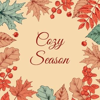 Design de outono colorido com folhas e grãos
