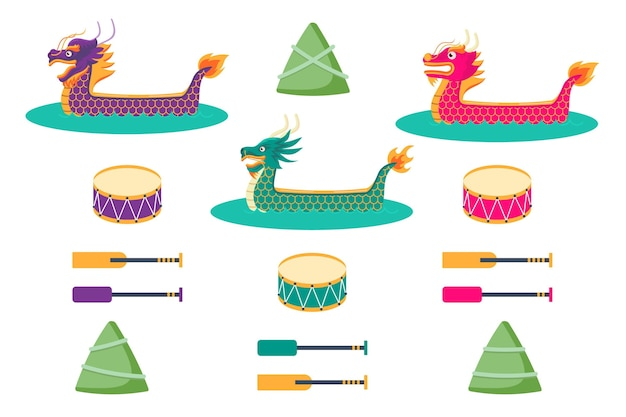 Design de pacote de barco dragão