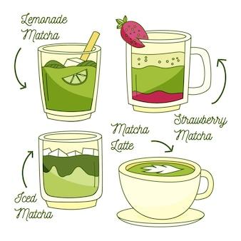 Design de pacote de chá matcha