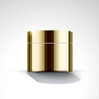 Design de pacote de frasco de creme de cor dourada em ilustração 3d