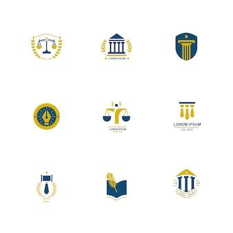 Design de pacote de logotipo de direito e justiça