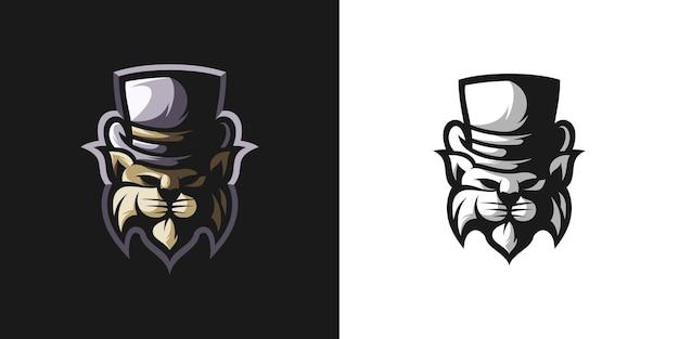 Design de pacote de mascote de chapéu lynx