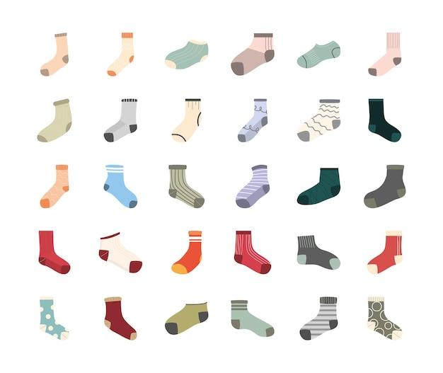 Design de pacote de símbolo de meias longas e curtas, desgaste de estilo de moda em tecido e ilustração do tema da loja