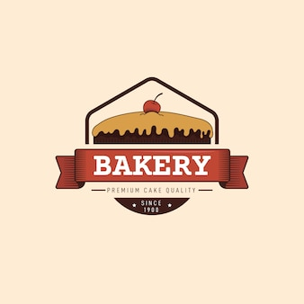 Design de padaria para logotipo com bolo