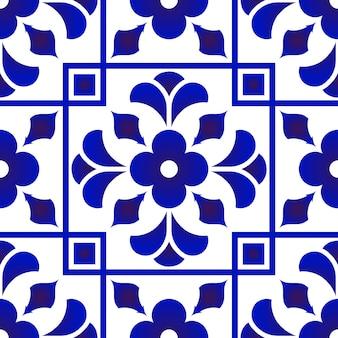 Design de padrão de azulejo azul e branco