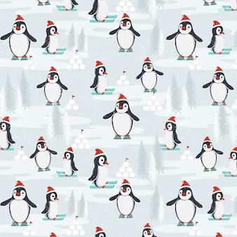 Design de padrão de festa de pingüins de esqui