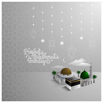 Design de padrão de saudação mawlid al nabi com belas mesquitas e crescente