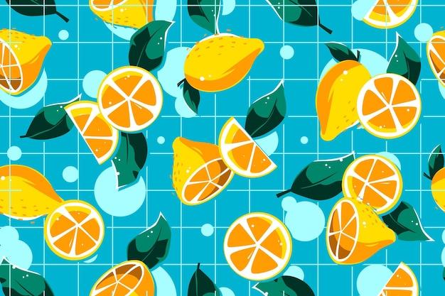 Design de padrão de verão com frutas cítricas