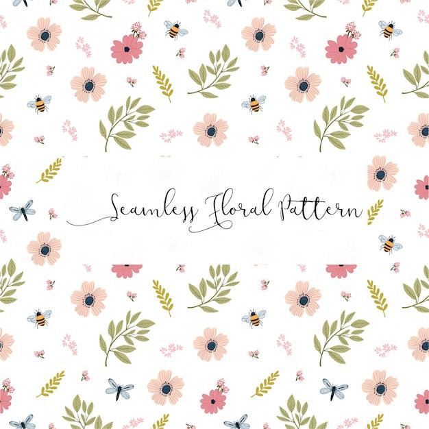 Design de padrão floral primavera botânica