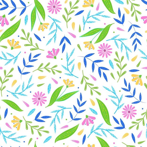 Design de padrão floral repetido sem costura colorida