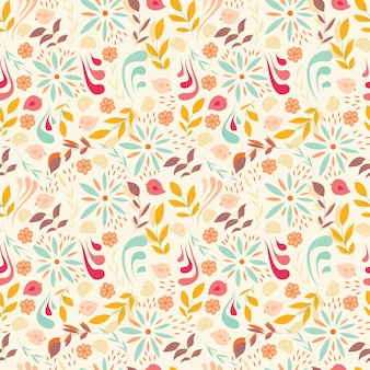 Design de padrão sem costura com pequenas flores, elementos florais, pássaros