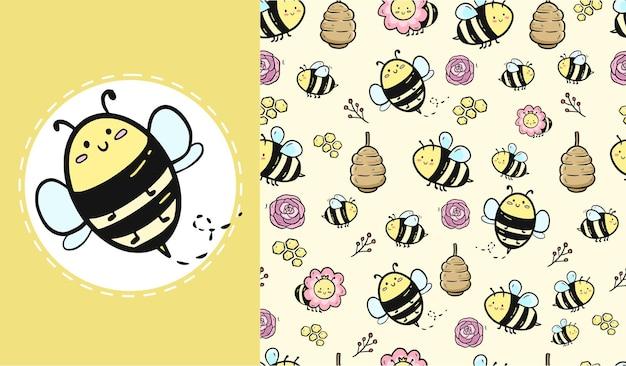 Design de padrão sem emenda de abelha
