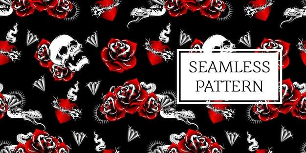 Design de padrão sem emenda de cobra rosa caveira
